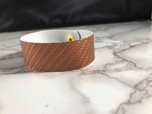 Copper Carbon Fiber Faux Leather Cuff Bracelet