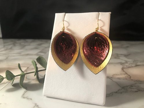 Red Metallic Crackle & Sparkly Gold Faux Leather Pinched Petal Earrings
