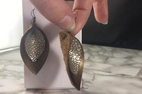 Bronze Matte Metallic Genuine Leather with Pearl Bubble Genuine Leather