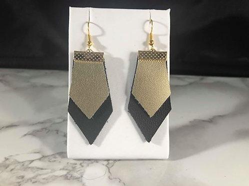 Matte Metallic Champagne Gold & Matte Black Genuine leather Earrings