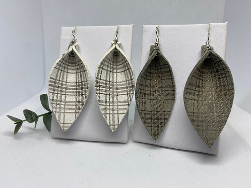 Plaid Print Genuine Leather Pinched Petal Earrings