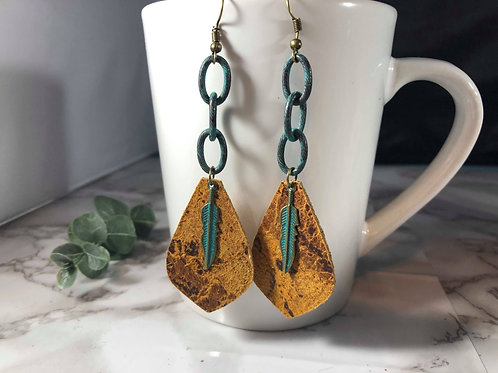 Distressed Honey Genuine Italian Leather Earrings with Teal Accents