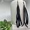 Thumbnail: Black Genuine Leather Shoulder Duster Tassel Earrings