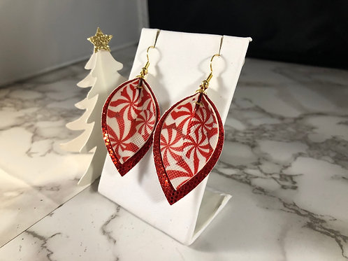 Peppermint Swirl & Red Glitter Faux Leather Earrings