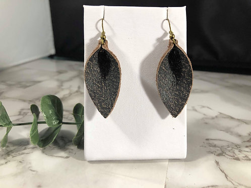 Pebble Brown/Charcoal Recycled Genuine Leather Earrings