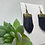 Thumbnail: Glossy Navy Recycled Genuine Leather Fringe Earrings