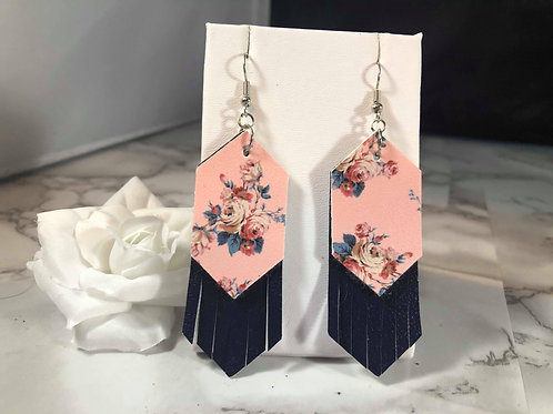 Blush Pink Floral & Navy Fringe Faux Leather Earrings