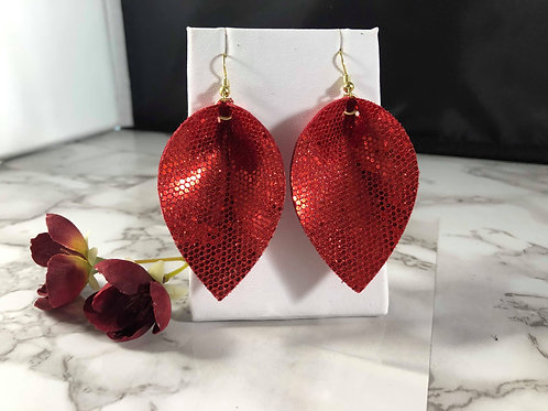 Bright Red Honeycomb Glitter Faux Leather Double Sided Earrings