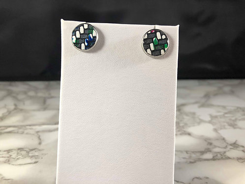 Charcoal Gray, White & Bright Splashes Genuine Leather Stud Earrings