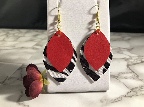 Bright Red & Zebra Print Faux Leather Two Tier Layered Earrings