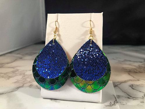 Green & Blue Metallic Mermaid Scales & Blue Glitter Faux Leather Earrings