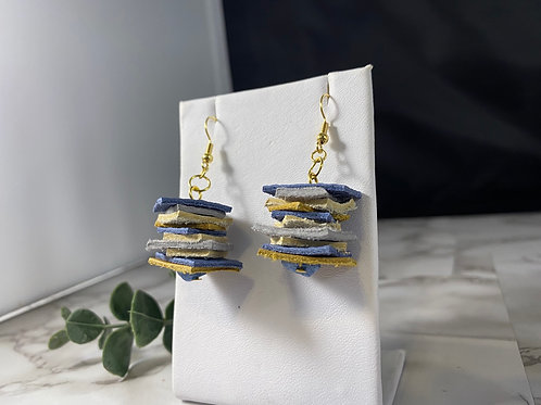 Blue & Camel Recycled Genuine Leather Stack Earrings