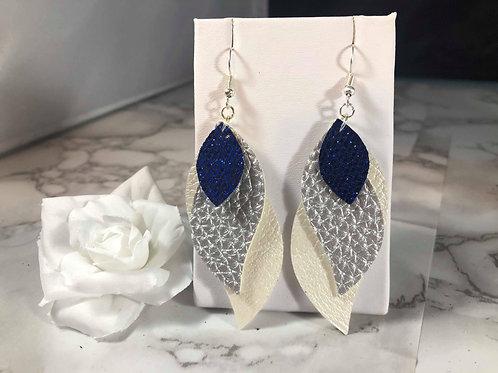Bright Blue Glitter, Matte Silver & Pearl White Faux Leather Earrings