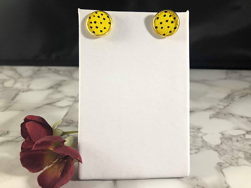 Bright Yellow & Black Polka Dotted Faux Leather Stud Earrings
