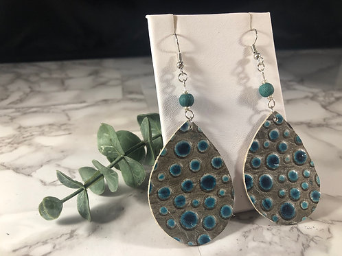 Gray & Teal Bubble Genuine Leather Teardrop Earrings with Teal Lava Bead
