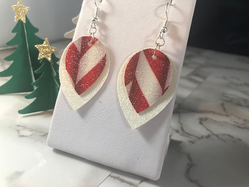 Peppermint Stick Glitter Faux Leather Double Layer Earrings