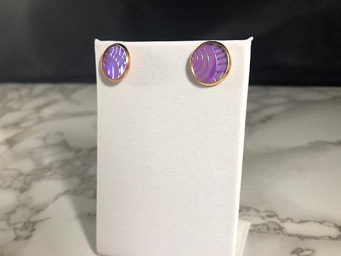 Purple/Blue Textured Iridescent Metallic Faux Leather Stud