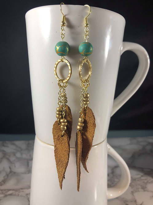 Medium/Light Brown Genuine Leather Earrings with Turquoise & Gold Details