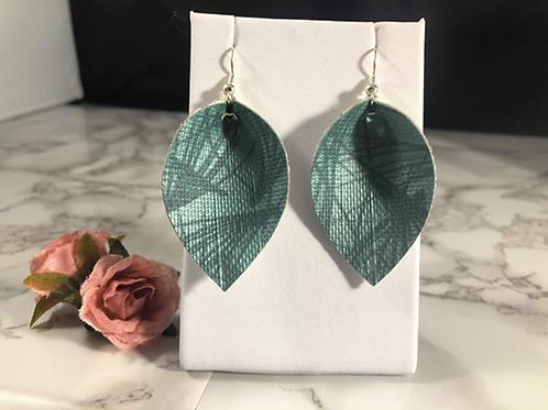 Turquoise Patterned Subtle Sheen Faux Leather Earrings