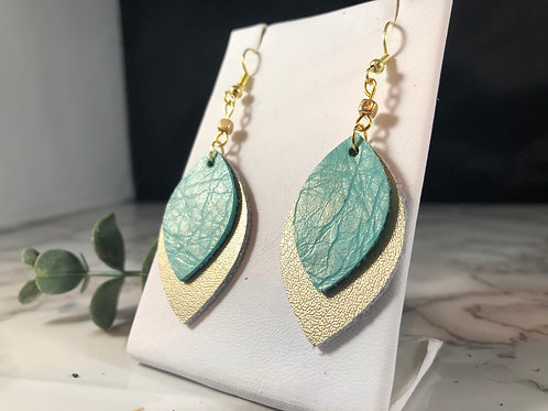 Turquoise & Matte Gold Genuine Leather Earrings with Beading