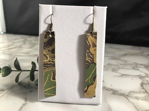 Authentic Realtree Camouflage Recycled Genuine Leather Rectangle Earrings