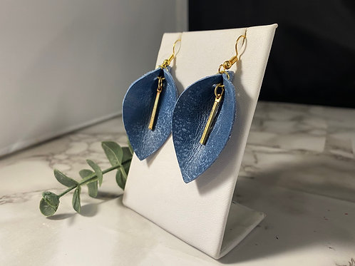 Denim Blue Genuine Leather Pinched Petal Earrings with Gold Bar