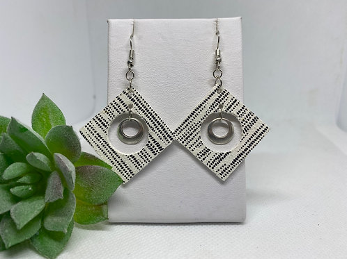 Black & White Patterned Cut-our Earrings with Silver Metal