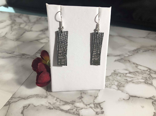 Small Lizard Skin Textured Gray & Silver Genuine Italian Leather Earrings