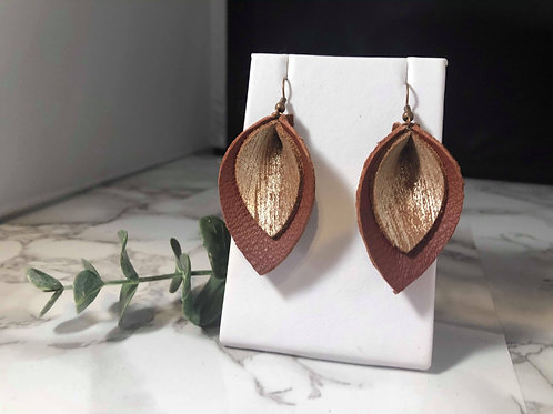 Burnt Sienna & Brushed Gold Genuine Leather Pinched Petal Earrings