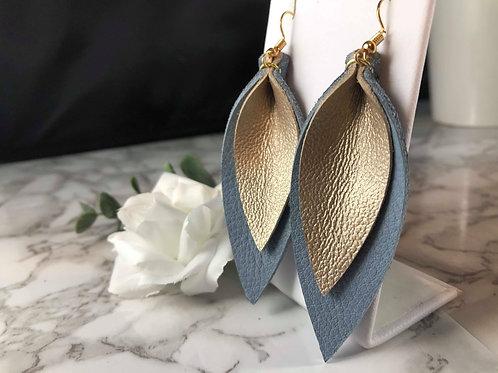 Rainy Sky Blue & Matte Metallic Gold Genuine Leather Pinched Petal Earrings