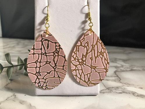 Blush & Metallic Gold Faux Leather Teardrop Earrings