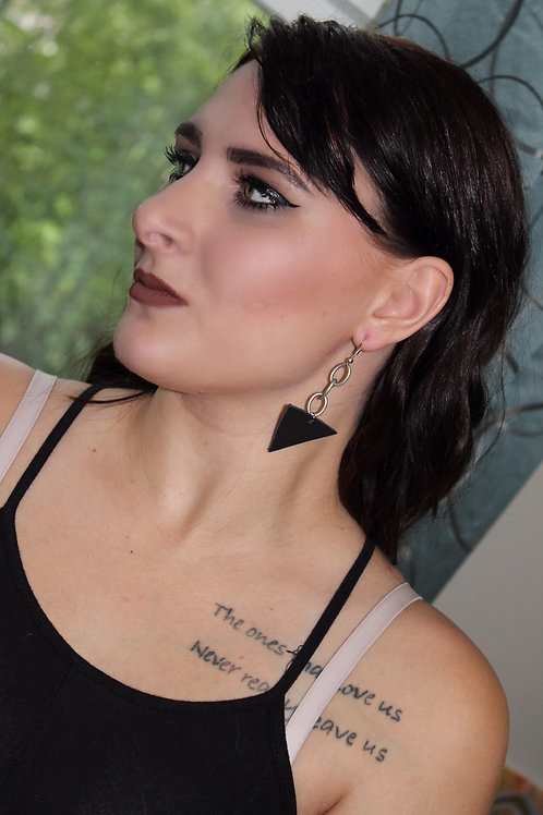Black Recycled Genuine Leather and Matte Silver Chain Earrings