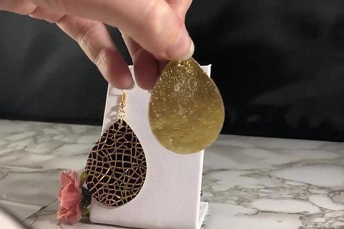 Metallic Dark Grape/Indigo & Metallic Gold Lines Textured Faux Leather Earrings