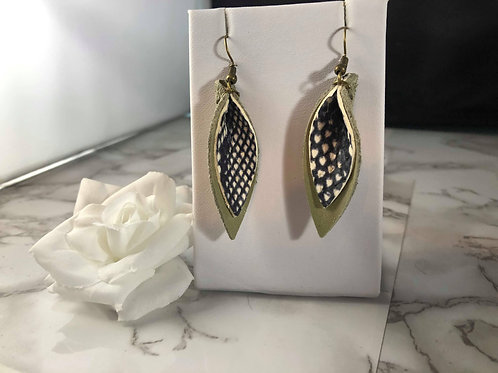Textured Black, White & Pale Sage Green Genuine Leather Pinched Petal Earrings