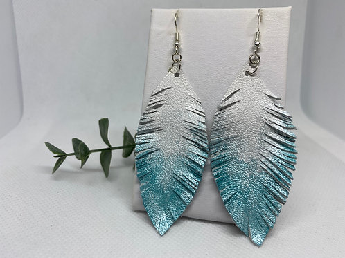 White & Metallic Light Blue Ombre Painted Genuine Leather Feather Earrings