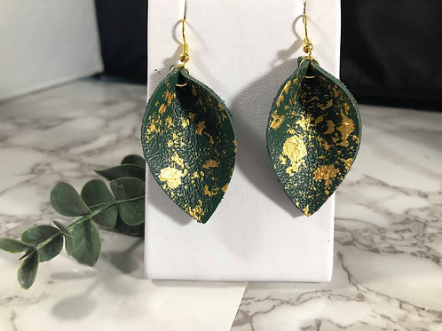 Emerald Green Recycled Genuine Leather Hand Painted Earrings