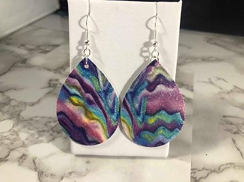 Double Sided Purple Rainbow Tie Dye Glitter Teardrop Earrings