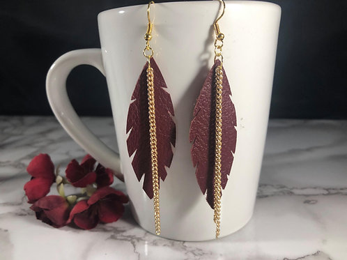 Recycled Deep Red Genuine Leather Feather Earrings with Gold Chain