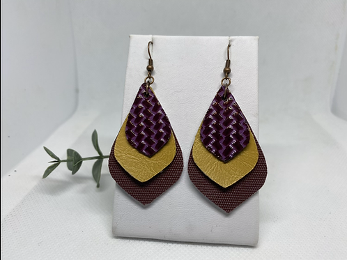 Purple, Mustard, & Mahogany Fall Color Faux Leather Earrings