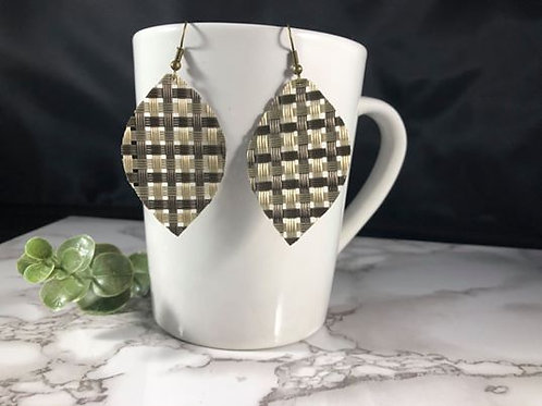 Mixed Metallic Recycled Faux Leather Earrings