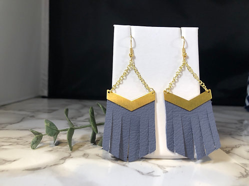 Gold Metal & Denim Blue Recycled Genuine Leather Fringe Chevron Earrings