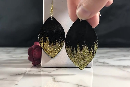 Black Genuine Recycled Leather with Gold Glitter Ombre Earrings