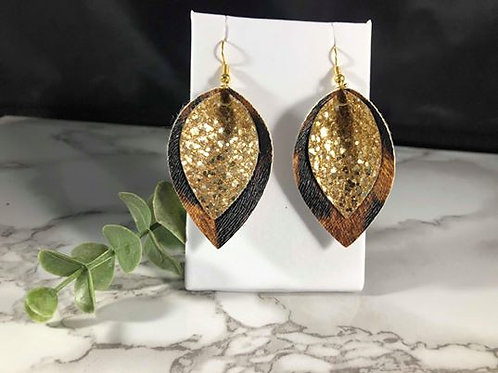 Textured Leopard & Gold Glitter Pinched Recycled Faux Leather Earrings
