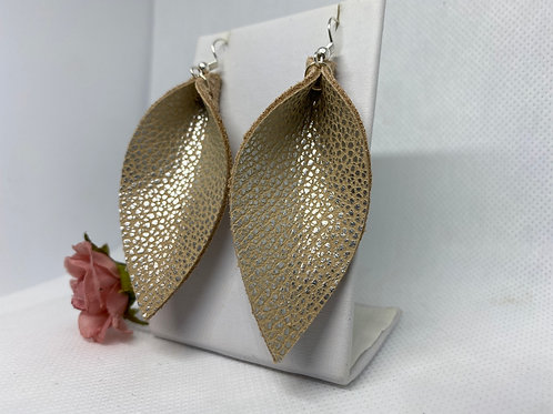 Peach & Silver Textured Genuine Leather Pinched Petal Earrings