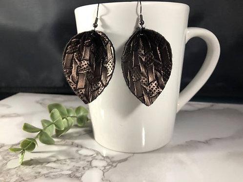 Metal-Look Brown Metallic Textured Faux Leather Earrings