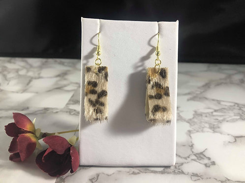 Leopard Print Faux Fur Double Sided Loop Earrings