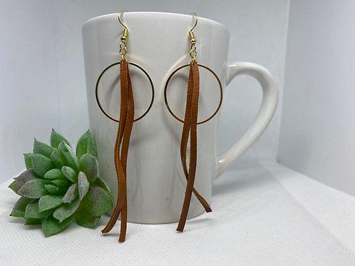 Cherry Wood Genuine Leather Tassel & Gold Metal Circle Earrings