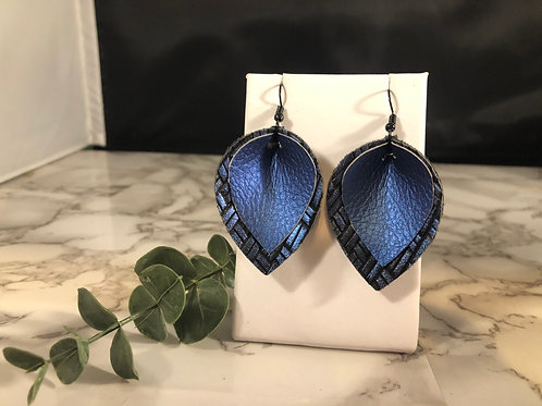 Metallic Royal Blue & Black Faux Leather Pinched Petal Earrings