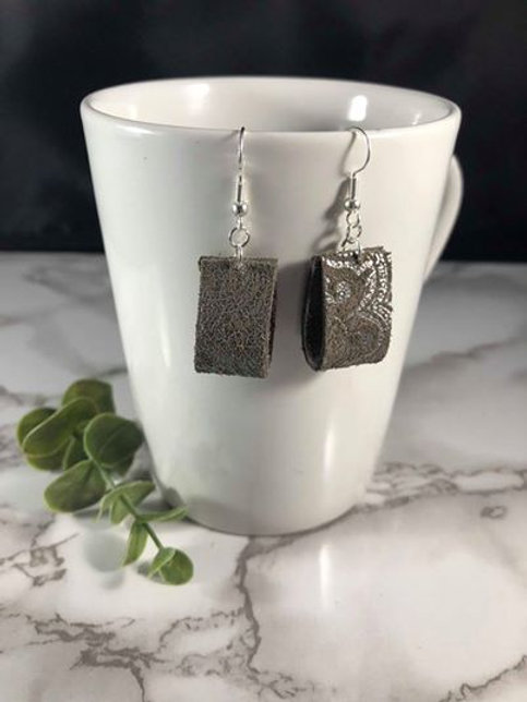 Small Metallic Silver & Gray Genuine Recycled Leather Folded Earrings