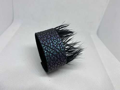 Iridescent Genuine Leather & Feather Cuff Bracelet